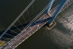 Aerial image of the Verrazano Narrows Bridge New York. Aerial image Verrazano Narrows Bridge New York stock photos