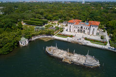 Aerial image of Villa Vizcaya Museum and Gardens Brickell Miami. Aerial image of Villa Vizcaya Museum and Gardens Royalty Free Stock Photos