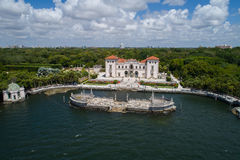 Aerial image of Villa Vizcaya Museum and Gardens Brickell Miami. Shot with an aerial drone Royalty Free Stock Photo