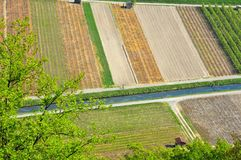 Aerial image of vineyards, orchards and stream Royalty Free Stock Photos