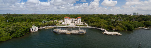 Aerial image of Vizcaya Museum and Gardens Miami Florida. Stock image of the Vizcaya Museum and Gardens Miami Florida USA Stock Images