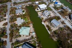 Homes in the Florida Keys affected by Hurricane Irma. Aerial image of waterfront homes impacted by Hurricane Irma Stock Image