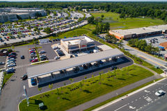Aerial image of a WaWa gas station stock photos