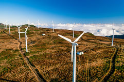 Aerial image of wind turbines Madeira Portugal. Aerial image of Portugal, Azore Island, Madeira wind turbines Royalty Free Stock Photography