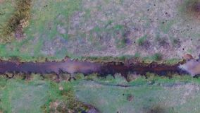 Aerial images of a small river in a meadow on a spring afternoon. NAerial images of a small river in a meadow on a spring afternoon, ecology concept stock video