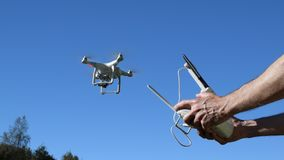 Aerial Imaging Multicopter, Video Drone, Hovering, Take-Off stock video footage