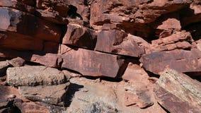 Aerial Indian ancient petroglyphs rock art nine mile canyon pull Utah 4K 268