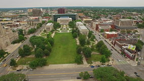 Aerial Indiana Indianapolis. Aerial video of downtown Indianapolis during the day stock footage