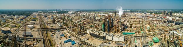Aerial industrial oil processing plant panorama Stock Photo