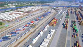 Aerial industrial shipping port stock video