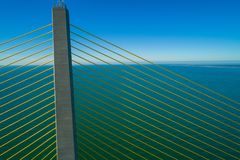 Aerial inspection suspension cable bridge. Aerial drone photo suspension bridge inspection Sunshing Skyway Tampa Bay Florida royalty free stock photo