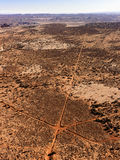 Aerial of Intersecting Dirt Roads Stock Images