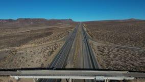 Aerial interstate freeway Los Angeles to Las Vegas Halloran Springs fast 4K 208