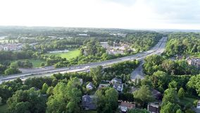 Aerial of Interstate highway 476 Blue Route in Radnor Township, Villanova, Pennsylvania. Aerial view of Interstate highway 476 Blue Route in Radnor Township stock video