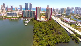 Aerial Intracoastal Yacht Club Sunny Isles Stock Images