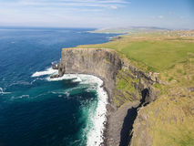 Aerial Ireland countryside tourist attraction in County Clare. The Cliffs of Moher and Burren Ireland. Stock Photos