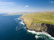 Aerial Ireland countryside tourist attraction in County Clare. The Cliffs of Moher and Burren Ireland. Stock Photo