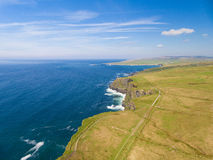 Aerial Ireland countryside tourist attraction in County Clare. The Cliffs of Moher and Burren Ireland. Royalty Free Stock Photography