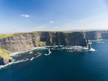 Aerial Ireland countryside tourist attraction in County Clare. The Cliffs of Moher and Burren Ireland. Royalty Free Stock Photos