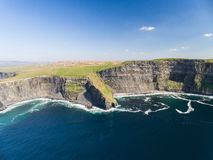Aerial Ireland countryside tourist attraction in County Clare. The Cliffs of Moher and Burren Ireland. Stock Image