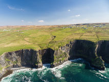 Aerial Ireland countryside tourist attraction in County Clare. The Cliffs of Moher and Burren Ireland. Royalty Free Stock Photo