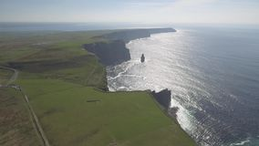 Aerial Ireland countryside tourist attraction in County Clare. The Cliffs of Moher and Burren Ireland. stock video