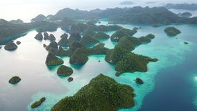 Aerial of Islands and Calm Lagoon in Wayag, Raja Ampat. Rugged limestone islands, surrounded by coral reefs, are found in an idyllic, tropical lagoon in Wayag stock video footage