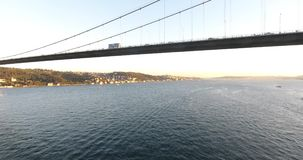 Aerial istanbul Bosphorus Bridge and vehicle traffic on Bridge. 4K stock video footage