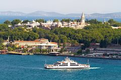 Aerial Istanbul. Historical Topkapi Palace and a ferry sailing out from Old Istanbul, Turkey Royalty Free Stock Images