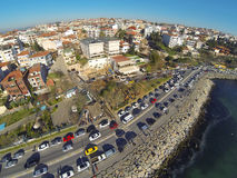 Aerial Istanbul from waterside. Residential housing and coast way along Bosphorus at Salacak Royalty Free Stock Photo