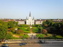 Free Aerial Jackson Square Saint Louis Cathedral Church In New Orleans, Louisiana Royalty Free Stock Images - 108045129