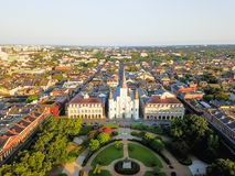 Aerial Jackson Square Saint Louis Cathedral church in New Orleans, Louisiana stock photos