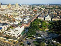 Aerial Jackson Square Saint Louis Cathedral church in New Orlean. Aerial view of Jackson Square with Saint Louis Cathedral church and surround extant historical Stock Photography