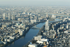 Aerial Japanese city building stock photography