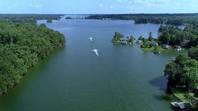 Aerial of Jet Ski Flying By stock footage