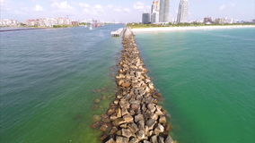 Aerial Jetty and fishing pier stock footage