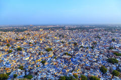 Aerial of Jodhpur, the Blue City due to the blue-painted houses Royalty Free Stock Photo