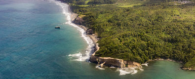 Aerial of jungle, coast and ocean in Dominica Stock Photo