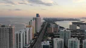 Aerial 4k Footage of Sunny Isles Beach during sunset stock video