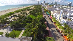 Aerial 4k video of Ocean Drive Miami Beach