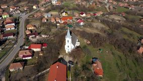 Aerial 4k view of a church by drone