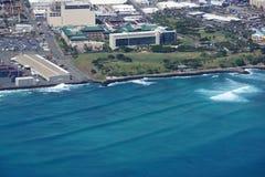 Aerial of Kakaako Beach park in Honolulu Stock Photo