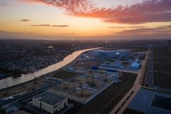 Aerial: The Kaliningrad stadium in sunset royalty free stock images