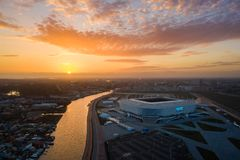 Aerial: The Kaliningrad stadium in sunset royalty free stock photo