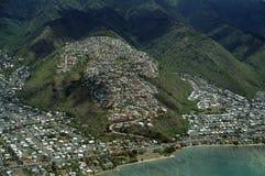 Aerial of Kawaikui Beach Park, Maunalua Bay, Nui Valley and Aina Stock Photo