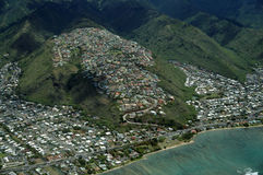Aerial of Kawaikui Beach Park, Maunalua Bay, Nui Valley and Aina Stock Photos