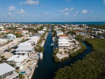 Aerial Keys Canal Waterway Stock Image