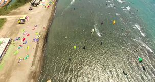 Aerial Kitesurf Beach Akyaka, Turkey stock video
