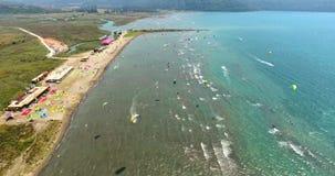 Aerial Kitesurf Beach Akyaka, Turkey stock video footage
