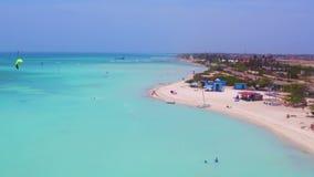 Aerial from kitesurfing at Fisherman Huts on Aruba island stock video footage